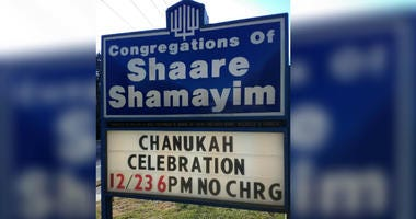 Congregations of Shaare Shamayim sign.