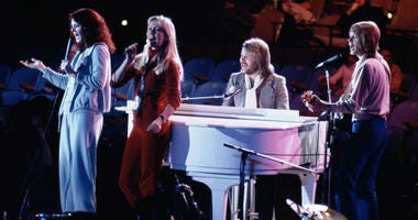 """In this file photo dated Tuesday Jan. 9, 1979, Abba perform at United Nations General Assembly, in New York, during taping of NBC-TV Special, """"The Music for UNICEF concert."""""""