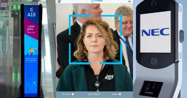 Facial recognition equipment that will be implemented at Philadelphia International Airport starting Monday.
