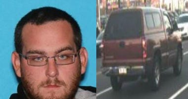 31-year-old Michael John Altomari was last seen driving a red Chevy Silverado with Pennsylvania tag ZKX-2019. Police said he is considered armed and dangerous.