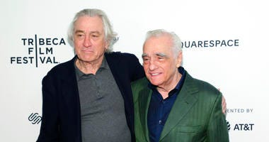 "Actor Robert De Niro, left, and director Martin Scorsese attend ""Tribeca Talks - Director Series - Martin Scorsese with Robert De Niro"" during the 2019 Tribeca Film Festival at the Beacon Theatre on Sunday, April 28, 2019, in New York."