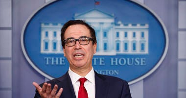 Treasury Secretary Steve Mnuchin speaks during a news briefing at the White House, in Washington, Monday, July 15, 2019.