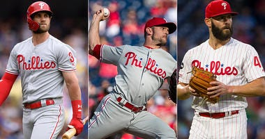 Bryce Harper, David Robertson and Jake Arrieta