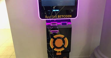 A bitcoin ATM is shown at the Bourse in Philadelphia.
