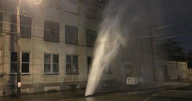A water main break led to water shooting into the sky and dozens of homes losing service.