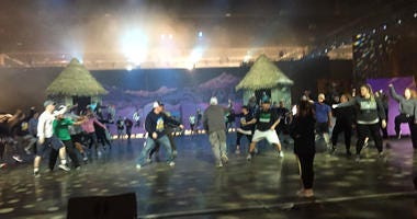 A fancy brigades rehearses at the Pennsylvania Convention Center.