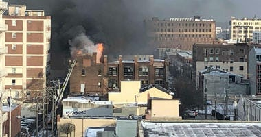 Fire at 13th and Hamilton streets in Philadelphia.