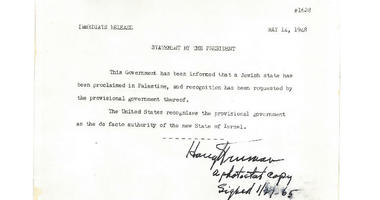 The original exhibition copy of America's recognition of the state of Israel is on sale by the Raab Collection in Ardmore.