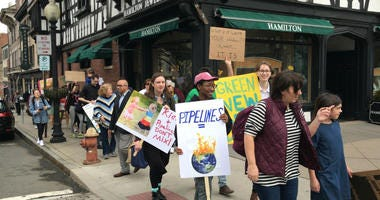 The student-led Mercer County Climate Action Strike demonstrations on behalf of the Green New Deal on March 15 in downtown Princeton and Princeton University.