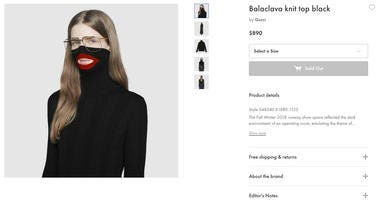 A screenshot taken on Thursday Feb.7, 2019 from an online fashion outlet showing a Gucci turtleneck black wool balaclava sweater for sale, that they recently pulled from its online and physical stores.
