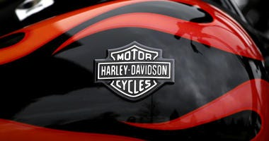 This April 27, 2017, file photo shows the Harley-Davidson name on the gas tank of a bike in Northbrook, Ill.