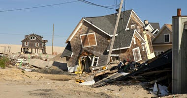 Home in Ortley Beach, New Jersey caused by hurricane Sandy, which made landfall near Brigantine, New Jersey on October 30, 2012,