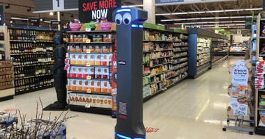 The newest worker at Giant Food Stores in the area is a robot.