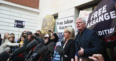 Kristinn Hrafnsson, Editor-in-chief of WikiLeaks and barrister Jennifer Robinson speak to the media outside Westminster Magistrates' Court in London, after WikiLeaks founder Julian Assange was arrested.