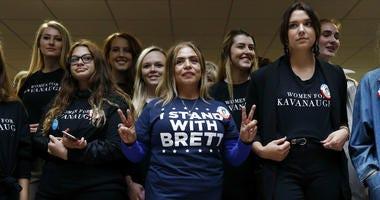 Supporters of Supreme Court nominee Brett Kavanaugh gather inside the Hart Senate Office Building on Capitol Hill in Washington, Thursday, Sept. 27, 2018.