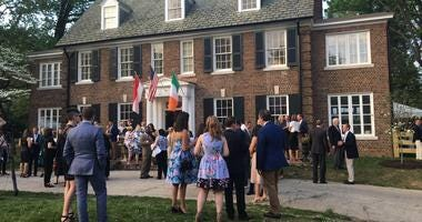 Guests outside the East Falls home where Grace Kelly grew up.