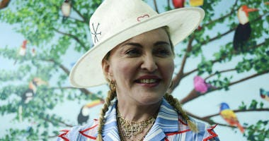 In this July 16, 2018 file photo, U.S. singer Madonna speaks to the press at a news conference in Blantyre, Malawi.