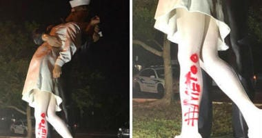The Sarasota Police Department is looking for the vandal who spray-painted #MeToo onto the statue commemorating the kissing couple in the iconic WWII photo.