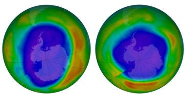 This combination of images made available by NASA shows areas of low ozone above Antarctica on September 2000, left, and September 2018.