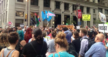 As Vice President Mike Pence was inside the Union League of Philadelphia late Monday afternoon for a fundraiser, hundreds of protesters gathered outside the building hoping to make their voices heard.