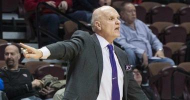 St. Joseph's Hawks head coach Phil Martelli reacts during the second half at Mohegan Sun Arena.