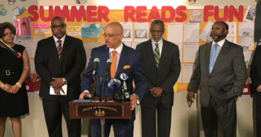 State Sen. Vincent Hughes highlights the Read to Succeed summer program, which takes place at a dozen locations across the city.