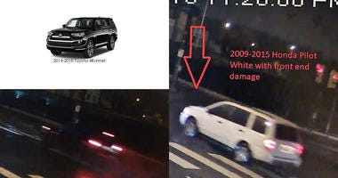 Police are searching for a white 2009-2015 Honda Pilot (left) and a dark 2014-2018 Toyota 4Runner (right).