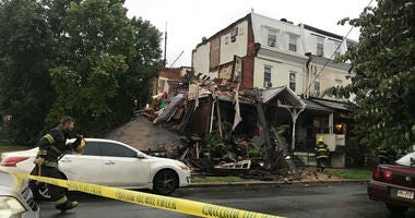 Authorities say the second and third floors of a row home, located at 39th and Aspen streets, collapsed around 6 a.m. Sunday. No one was injured.