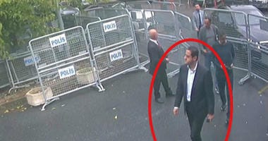 Surveillance footage taken Oct. 2, 2018, shows a man previously seen with Saudi Crown Prince Mohammed bin Salman's entourage walks toward the Saudi Consulate in Istanbul just before writer Jamal Khashoggi disappeared there.