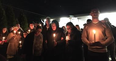 The family of Jerry Pastore lead a vigil for the owner of Shamrock Deli, in Audubon, Camden County.