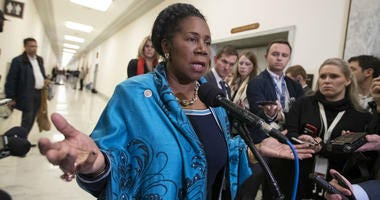 In this Dec. 7, 2018, file photo, U.S. Rep. Sheila Jackson Lee, D-Texas, speaks to reporters on Capitol Hill in Washington.