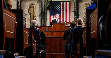 FEBRUARY 5, 2019 - WASHINGTON, DC: President Donald Trump delivered the State of the Union address, with Vice President Mike Pence and Speaker of the House Nancy Pelosi, at the Capitol in Washington, DC on February 5, 2019.