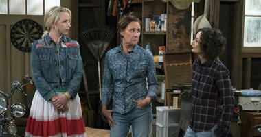 "This image released by ABC shows Lecy Goranson, from left, Laurie Metcalf and Sara Gilbert in a scene from ""The Connors,"" airing Tuesdays on ABC."