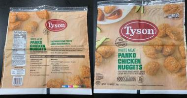 Tyson Foods is recalling 36,420 pounds of chicken nuggets —not because the chicken is rubbery, but —because rubber may actually be in them.
