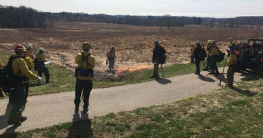 Controlled burn in Valley Forge National Park