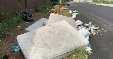 Trash piling up on Venango Street in Philadelphia