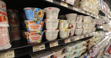 This July 11, 2018, file photo shows yogurt on display at a grocery store in River Ridge, La.