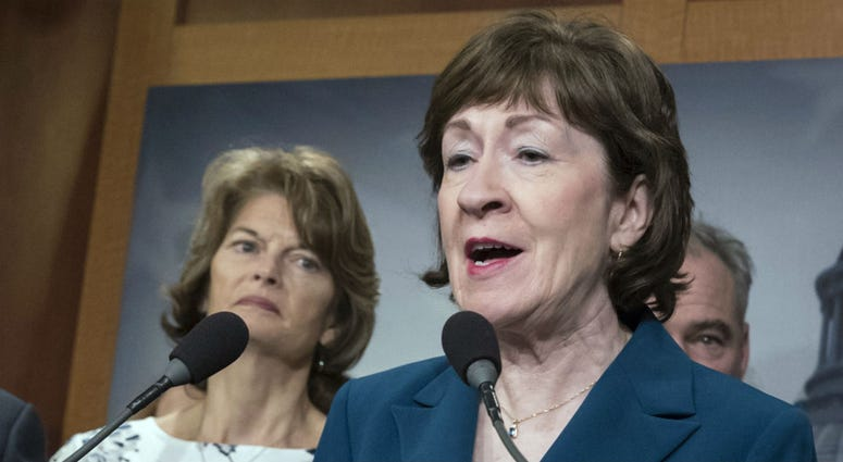 In this Feb. 15, 2018 file photo, Sen. Susan Collins, R-Maine and Sen. Lisa Murkowski, R-Alaska, left, are shown during a news conference at the Capitol in Washington.