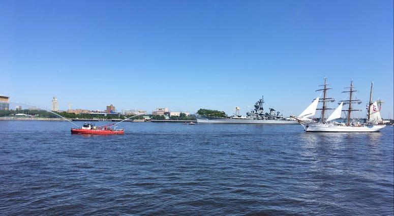 The Philadelphia Fire Boat led the Parade of Sail