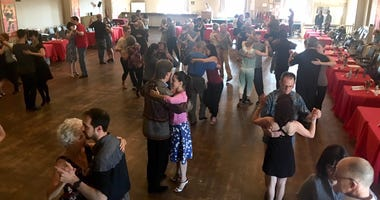 Dancers getting a lesson at Philly Tango Fest