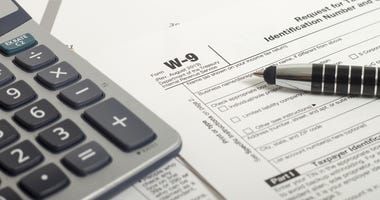 Close up U.S. taxes papers