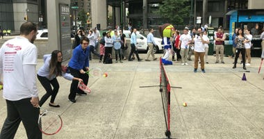 Billie Jean King tennis clinic in center City Philadelphia