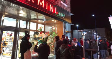 Long line outside Termini Bros. in South Philly. A Christmas Eve tradition to get cannoli from this community staple.