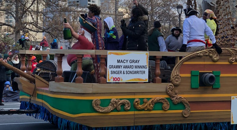 Grammy-winner Macy Gray waves to the crowd from a pirate ship in Philly's Thanksgiving Day Parade.