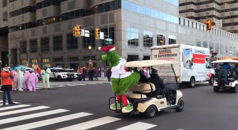 The Phanatic is spotted before the Thanksgiving Day Parade starts.