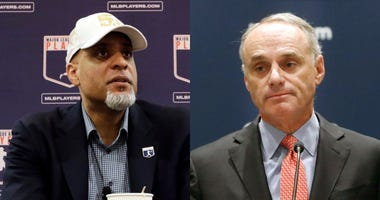 MLB Players Association Executive Director Tony Clark and MLB Commissioner Rob Manfred