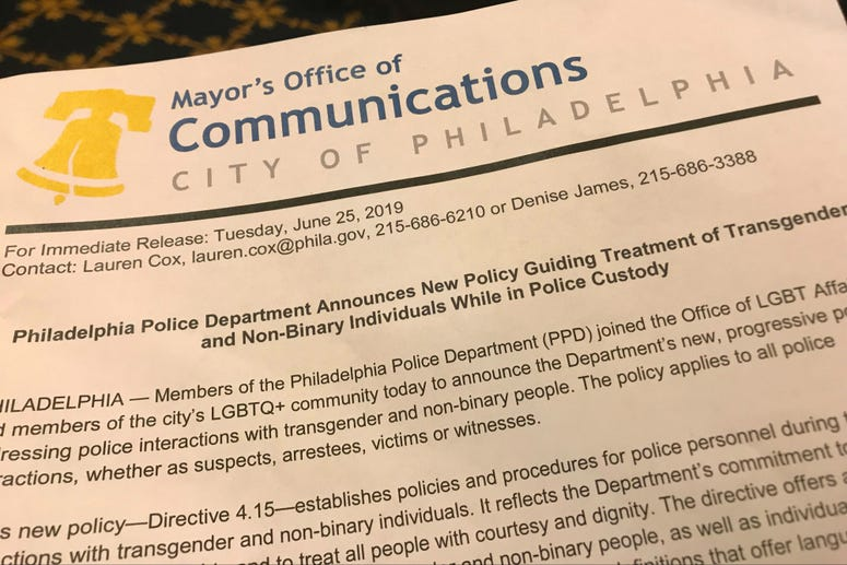 The City of Philadelphia and the Philadelphia Police department announced an updated policy governing the treatment of transgender people in custody.