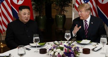 President Donald Trump speaks during a dinner with North Korean leader Kim Jong Un, Wednesday, Feb. 27, 2019, in Hanoi.