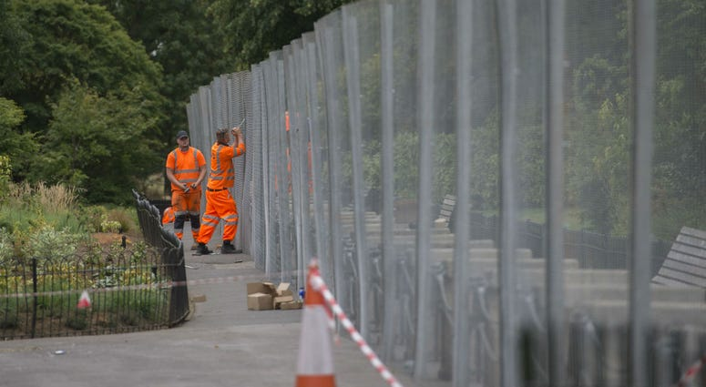 Security preparations near the US Ambassador's residence Winfield House, in Regent's Park, London, ahead of the visit to the UK of President Donald Trump, who will spend Friday night at the residence.