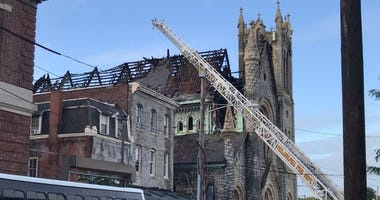 Church fire chars roof